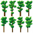 Set of pixel high tree. — Stock Vector