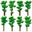 Set of pixel high tree. — Stock Vector #31215359