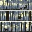 Horizontal banners of wild animals in wood. — Векторная иллюстрация