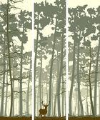 Vertical banners of deer in coniferous wood. — Stock Vector