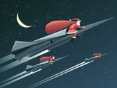 Christmas card with Santa Claus on rockets at night. — Stock Vector