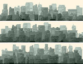 Horizontal banner of big city. — Vector de stock