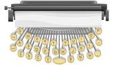 Ilustración horizontal de la máquina de escribir. — Stockvektor