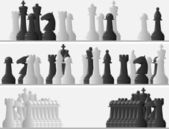 Set banners of black and white chess pieces. — Stock Vector