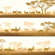 Stock Vector: Horizontal banners of wild animals in African savanna.