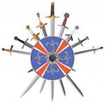 Swords cross crosswise and shields. — Stock Vector