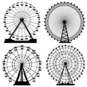 Set of silhouettes Ferris Wheel. — Stock Vector