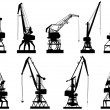 Vector silhouettes of cargo crane tower. — Stock Vector