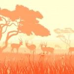 Vector illustration of wild animals in African savanna. — Vector de stock