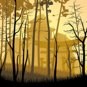 Wild misty wood with castle in Asian style. — Vector de stock