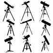 Stock Vector: Vector silhouettes of telescopes.