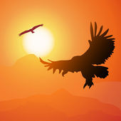 Square cartoon illustration of soaring eagle and sunset. — Stock Vector