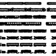 Vector silhouettes of trains and locomotives. — Stock Vector #42523067