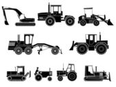 Set of icon heavy machines in black and white style. — Stock Vector
