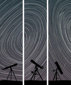 Vertical banners of stars trace circles on the sky with telescop — Stockvektor