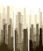 Vertical banner industrial part of city. — Stock Vector