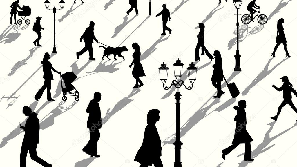 Multitud De Gente Silueta: Ilustración Horizontal De Siluetas De Personas De