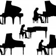 Silhouettes pianist at the piano. — Stock Vector #46270861