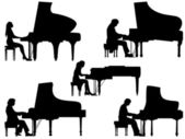 Silhouettes pianist at the piano. — Stock Vector