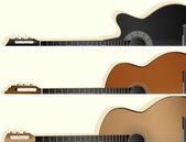 Horizontal vector banners of some types guitar. — Stock Vector