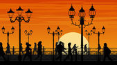 Vector illustration of sunset seafront street with people. — Stock Vector