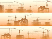 Horizontal banner of construction site with cranes and building  — Stock Vector