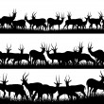 siluetas de banner horizontal de la manada de antílopes en África sav — Vector de stock  #50720727