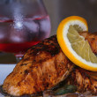 Salmon teriyaki with a glass of cold drink - Stock Photo