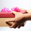 Valentine box with ribbon on it, give to someone, white back ground — Stock Photo