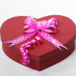 Valentine box with ribbon on it, white back ground — Stock Photo