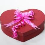 Valentine box with ribbon on it, white back ground — Stock Photo