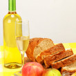 White wine and bread — Stock Photo