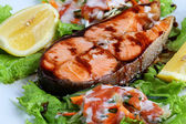 Salmon teriyak to eat — Stock Photo