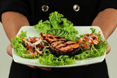 Salmon teriyaki to eat — Stock Photo