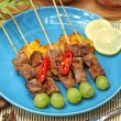 Food: ribs soup, cakes, beef satay — Stock Photo #32233617