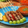 Food: ribs soup, cakes, beef satay — Stock Photo
