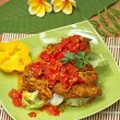 Food: layer cakes,chicken spicy,snack,banana, Indonesian cuisine — Stock Photo