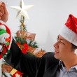Indonesian man celebrate Christmas — Stock Photo