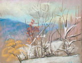 Las primeras nieves en las montañas — Foto de Stock