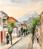 在山中进行的街 — 图库照片
