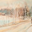 Winter landscape with road and the man — Stock Photo