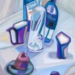 Stock Photo: Abstract still life with dark blue bottles
