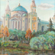 Church over the river in small town Torzhok — Stock Photo