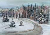 冬の木への道 — ストック写真