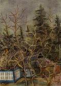 Apple дерево возле старый дом — Стоковое фото