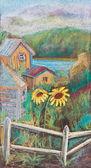 Słoneczniki za płotem — Zdjęcie stockowe