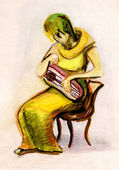 The girl playing a psaltery — Foto de Stock