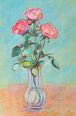 Pink roses in a glass vase — Stock Photo