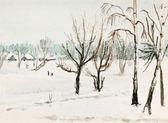 Winter watercolor — Stock Photo