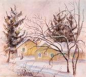 Haus und pelz-bäume — Stockfoto